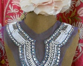 Silver Iridescent and Pearl Beaded Applique