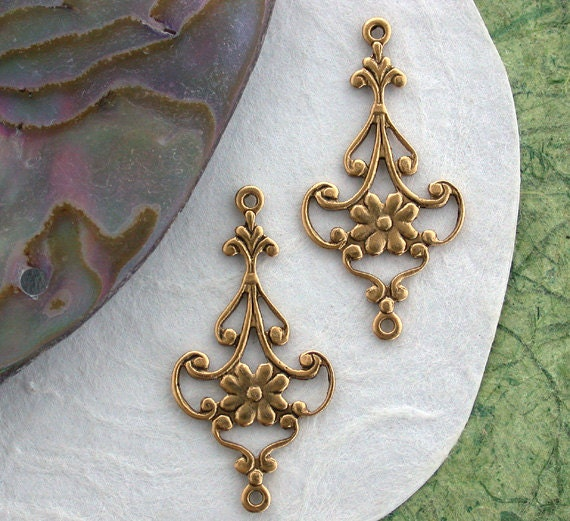 Antique gold stampings floral links hole