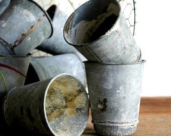 small zinc flower pots/ seed pots reproduction vintage style
