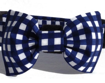 Dog Bow Tie in Navy and White Gingham Check for Small to Large Dogs