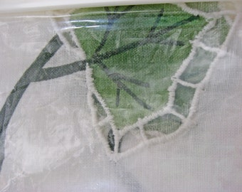Vintage Window Valance, Floral Drum Song - Handcrafted - White Battenburg Lace - Ivy - In Original Package
