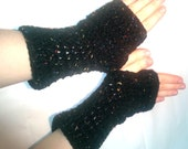 Black Fingerless Mittens with multi-color flecks