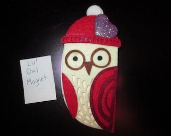 Nerdy Wooden and felt Owl Magnet