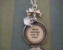 Have Courage And Be Kind Locket Silver Necklace Cinderella Movie
