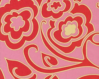"Drawing Room Shadow - Pink Red Rose by Anna Maria Horner for FreeSpirit fabrics 54"" wide"