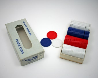Vintage plastic poker chips, gambling, red white and blue disks, card games, family game night, craft supply, rainy day fun, texas holdem