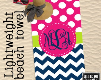 Monogram Beach Towel light Weight Chevron Pool Towel Polka dots Pink Navy Blue Poly/Cotton