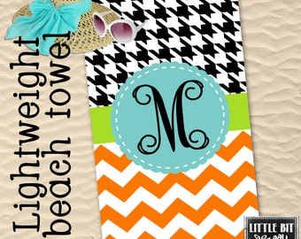 Houndstooth Personalized Beach Towel light Weight Chevron Monogrammed Pool Towel Gym Towel