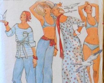 Butterick 4248 bikini pattern, beach cover-up, pants pattern, bust 36, hip 38, John Kloss, waist 28 pants, 1970s pattern, long coverup