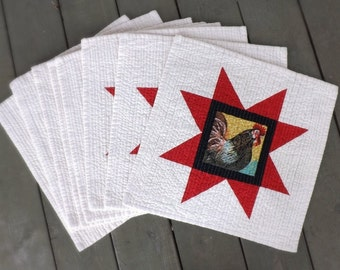 American Red Star Rooster Chicken quilted placemats (set of 8) Farmhouse country heartland red home kitchen table modern folk family dinner