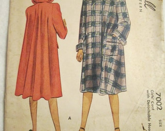 1947 Girls  McCALL COAT Pattern With Detachable Hood