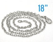"24 Silver Necklaces Antique Silver Link with Lobster Clasps - 3.5x2.5mm - 18"" - Ships IMMEDIATELY  from California - CH337b"