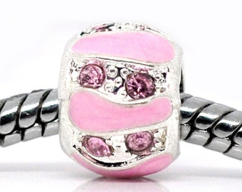 SALE Pink Rhinestone Beads Enamel - 3pcs - 9x8mm - Ships IMMEDIATELY  from California- B1137