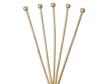 18k Gold Head Pins With Balls - 24mm Long - 0.6mm - 22 Gauge - 25 Pieces - Ships IMMEDIATELY from California - F250