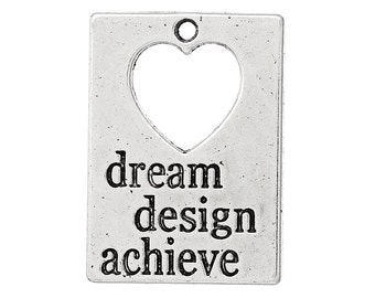 Dream Design Achieve - Antique Silver Message Charms - Antique Silver - 30x21mm - 8pcs - Ships IMMEDIATELY from California - SC1110