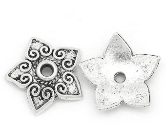 100 Flower Bead Caps - Antique Silver - 13x13mm - Ships IMMEDIATELY from California - B1180a