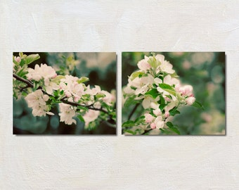 Flower Photography Set of Two, Apple Blossom Print Set, Spring Picture Set, Pink and Green Wall Decor, Cottage Chic Bedroom Art Set