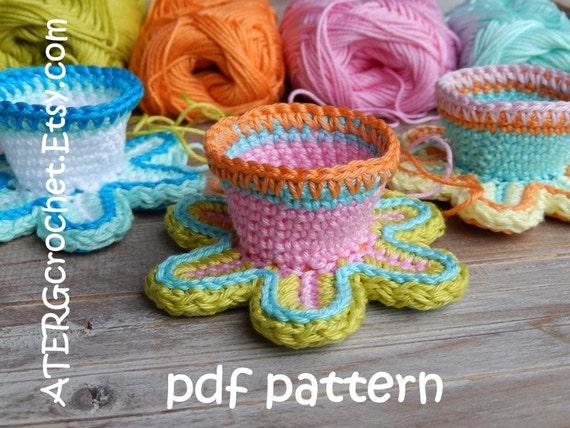 Crochet pattern FLOWER EGGCUP by ATERGcrochet