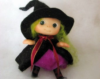 """Halloween Witch """"Elvira"""" OOAK Cute Baby Doll, Decoration for Home, for Halloween, Collectables made to order"""