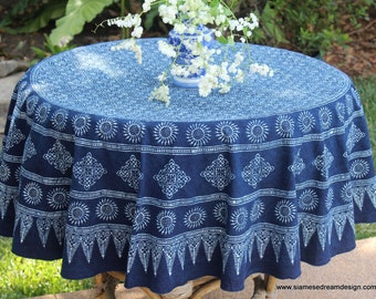Hmong Indigo Batik Round Table Cloth Naturally Dyed Cotton 60 75 or 90 Inch Free Worldwide Shipping