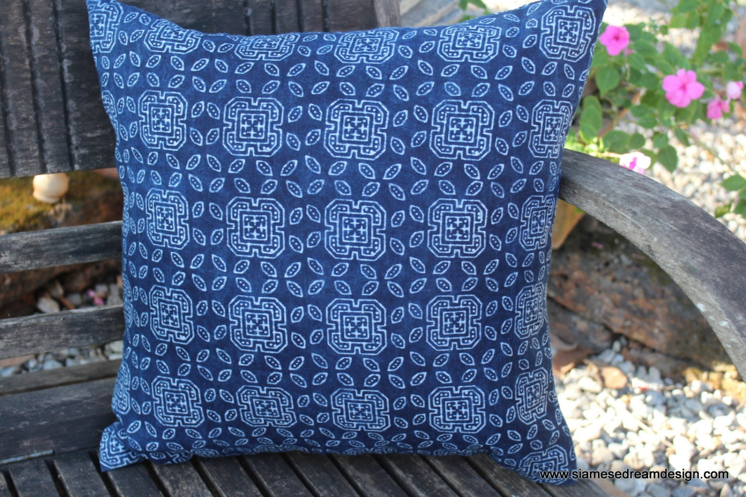 20 Ethnic Hmong Indigo Batik Decorative Throw Pillow Or