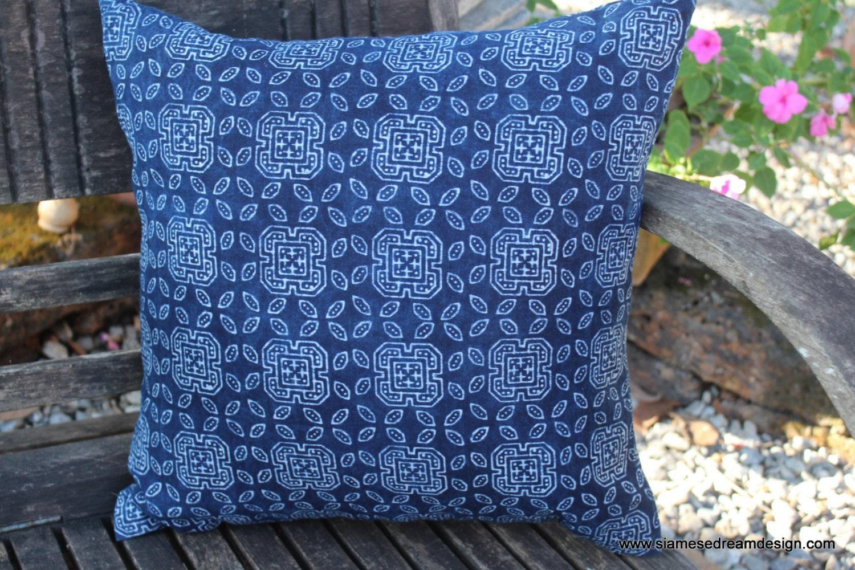 Decorative Pillows Indigo : 20 Ethnic Hmong Indigo Batik Decorative Throw Pillow Or