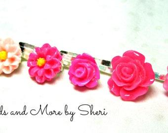 Pretty Pink Flower Bobby Pins - 6