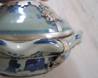 Chinese blue and green fluted bowl with white copper