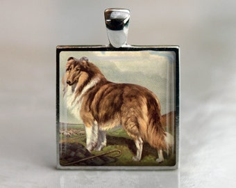 Vintage Rough Collie Dog Pendant