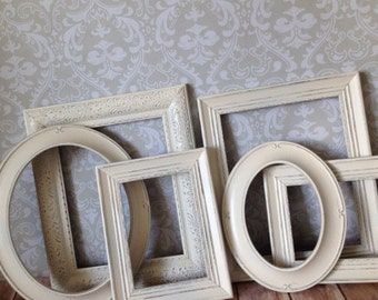 WHITE Vintage Style PICTURE FRAMEs - shabby chic wedding - oval - w/ Glass N Backing