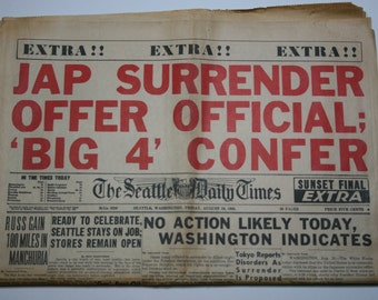 Vintage Newspaper - Seattle Daily Times - WWII - August 10,  1945