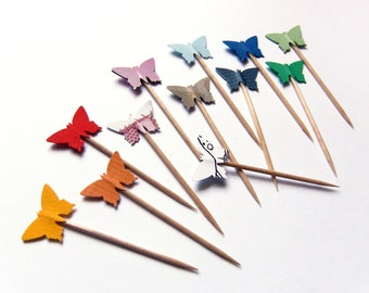 Party Picks Cupcake Toppers - Rainbow Colorful Funny Butterflies