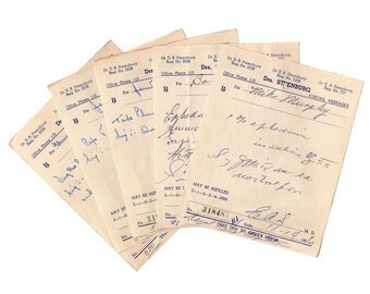 Vintage Handwritten Pharmacy Prescriptions 1950s Lot of 10 Doctor Scripts, Drug Store, Scrapbooking, Altered Art, Medical Ephemera, Collage