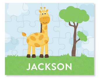 Giraffe Puzzle - Personalized Puzzle for Kids - Jigsaw Puzzle - Children Puzzles - Personalized Name Puzzle - 8 x 10 puzzle, 20 pieces