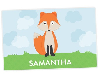 Fox Placemat - Fox Personalized Placemat for Kids - Name Placemat - Custom Placemat - laminated, double-sided