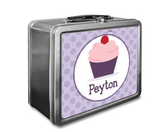 Cupcake Lunch Box - Personalized Kids Lunch Box - Vintage Metal Lunch Box - Chalkboard Lunchboxes