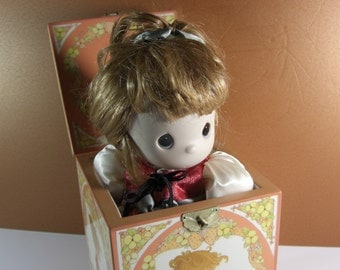 Precious Moments Autumn's Praise Jack in the Box Doll with COA