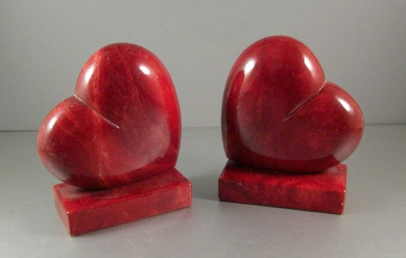 Red Alabaster Stone : Red alabaster heart bookends handmade italian pair