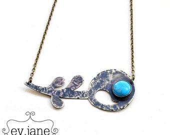 Blue Howlite Flower Paisley Short Statement Necklace Hand Cut Soldered Boho Hippie Ethnic Bib Luck Love by evjanemetalwork