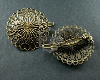5pcs 37mm vintage style antiqued bronze brass filigree flower hair clip barrette base setting DIY supplies 1502031