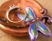 Dragonfly ring dish, handmade and hand painted