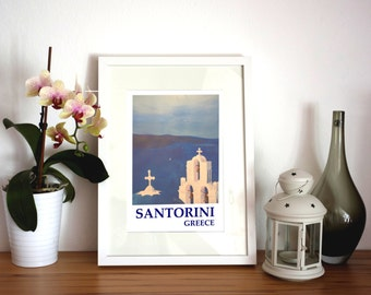 Santorini, Greece - View from Oia - Limited Edition Fine Art Print Retro Vintage Poster