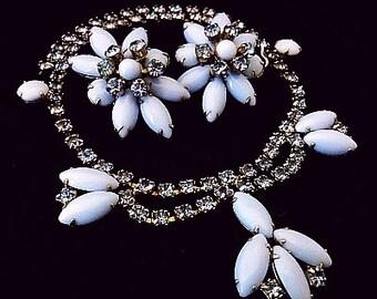 Blue Necklace Earring Demi Set Sky Blue Opaque Rhinestones Silver Metal High End Vintage