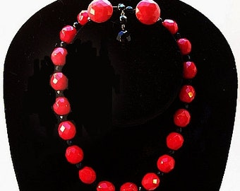 """Art Deco Necklace Earring Set  Czech Red & Black Crystal Faceted Beads BOLD 16"""" Vintage"""
