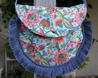Spring Garden Crossbody/Shoulder Bag Purse with Tassles and Crystals