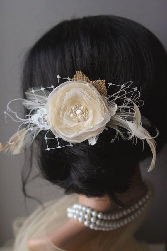 Rustic Burlap Wedding Hairpiece Bridal Flower Clip Fascinator Vintage Bridal Flower Headpiece Nude Champagne Ivory Feathers Pearls