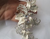 Rhinestone Bridal Hairpiece, Brushed Silver Swirl Hairpiece, Rhinestone Hair Accessories, Weddings