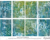 ATC Backgrounds - Instant Digital Download Collage Sheet , Blue Green paint effect- aceo altered art , journaling