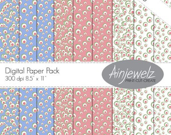 Retro Circles Paper Pack INSTANT DOWNLOAD- 9 papers with Retro Circle Design in pink blue green white