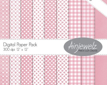 Baby pink download paper pack/INSTANT DOWNLOAD/Cardmaking/Scrapbooking/hearts download/stars printable/dots/gingham paper/check paper